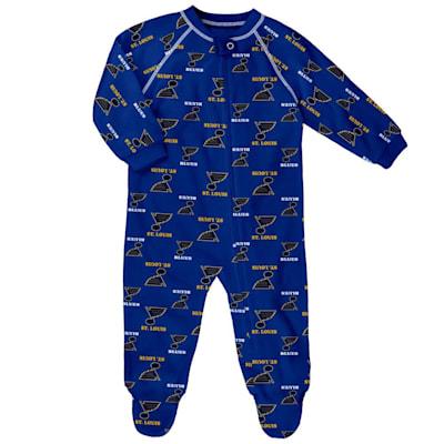 (Outerstuff Raglan Zip Up Coverall - St. Louis Blues - Newborn)