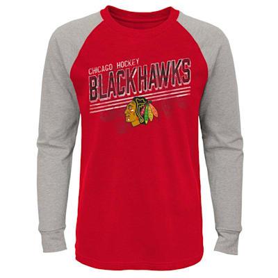(Adidas Over Time Long Sleeve Raglan Tee Shirt - Chicago Blackhawks - Youth)