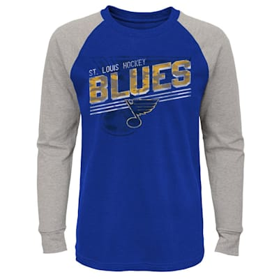 (Adidas Over Time Long Sleeve Raglan Tee Shirt - St. Louis Blues - Youth)