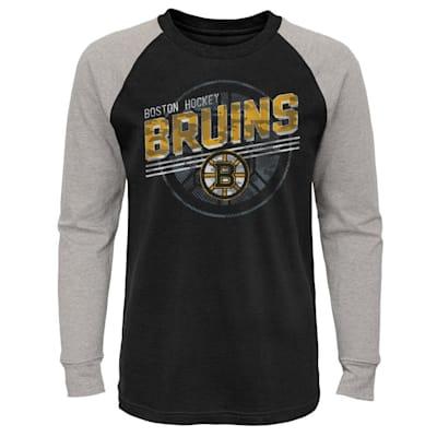 (Adidas Over Time Long Sleeve Raglan Tee Shirt - Boston Bruins - Youth)