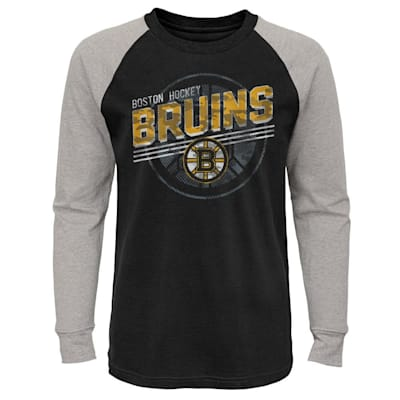 (Outerstuff Over Time Long Sleeve Raglan Tee Shirt - Boston Bruins - Youth)