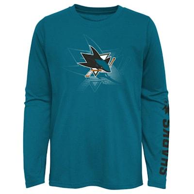 (Adidas Stop The Clock Long Sleeve Tee Shirt -  San Jose Sharks - Youth)