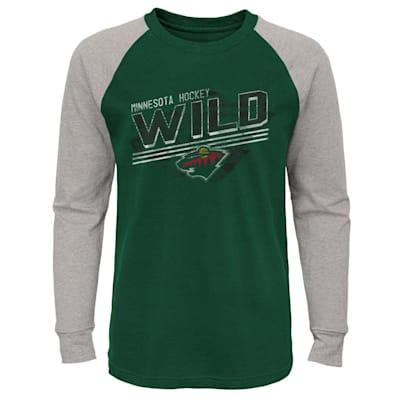 (Adidas Over Time Long Sleeve Raglan Tee Shirt - Minnesota Wild - Youth)