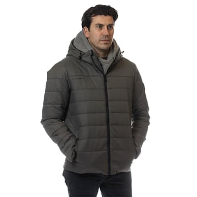 (Bauer Supreme Hooded Puffer Jacket - Grey - Youth)