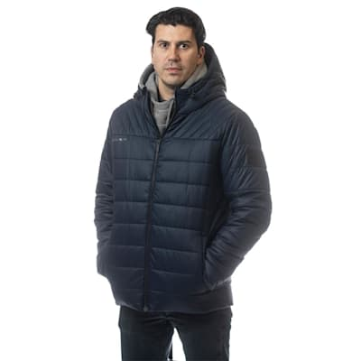 (Bauer Supreme Hooded Puffer Jacket - Navy - Adult)