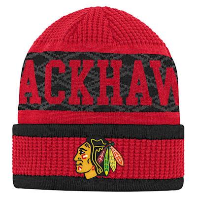 (Outerstuff Puck Pattern Cuffed Knit - Chicago Blackhawks - Youth)