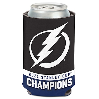 (Wincraft 2021 Stanley Cup Champions 2 Color Can Cooler - Tampa Bay Lightning)