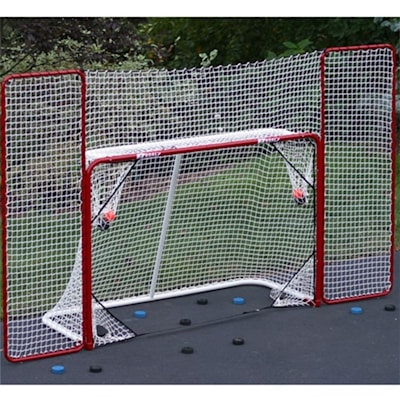 Model 67008 Has Rounded Corners On Back Bottom (EZ Goal Folding Metal Goal With Corner Targets and Backstop)