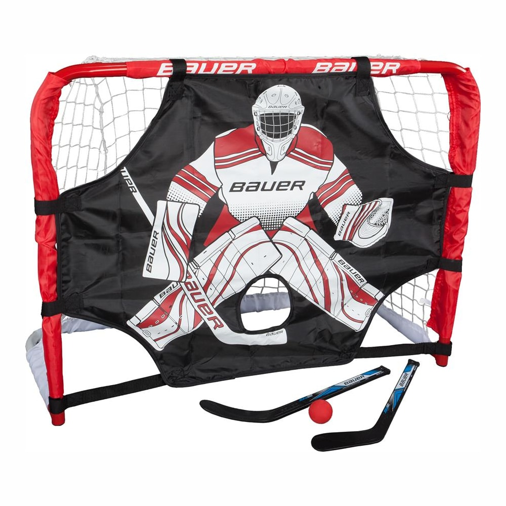 7e1e22e1f37 (Bauer Deluxe Knee Hockey Steel Goal Set w/ 2 Sticks, Ball & Target ...