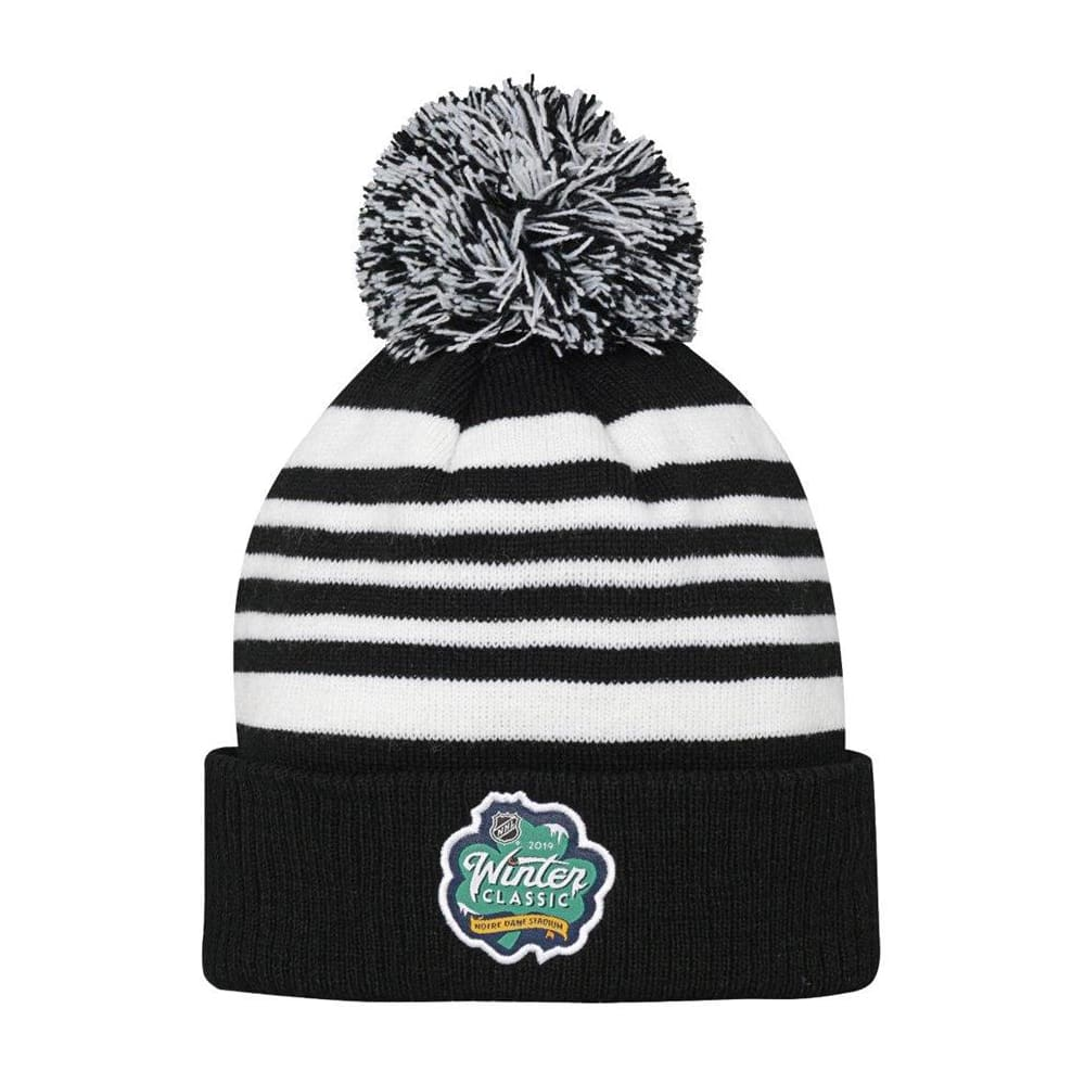 52a86136044858 Back (Adidas Chicago Blackhawks 2019 Winter Classic Pom Knit Hat - Youth)