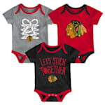 Adidas Chicago Blackhawks Five on Three Baby Onesie 3-Pack - Infant
