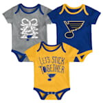 Adidas St. Louis Blues Five on Three Baby Onesie 3-Pack - Infant
