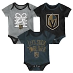 Adidas Vegas Golden Knights Five on Three Baby Onesie 3-Pack - Infant