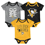 Adidas Pittsburgh Penguins Five on Three Baby Onesie 3-Pack - Infant