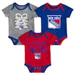 Adidas New York Rangers Five on Three Baby Onesie 3-Pack - Infant