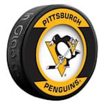 InGlasco NHL Retro Hockey Puck - Pittsburgh Penguins