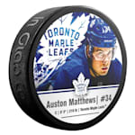 InGlasco NHLPA Hockey Puck - Auston Matthews - #34 - Toronto Maple Leafs