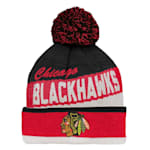Adidas Chicago Blackhawks Legacy Jacquard Pom Knit Hat - Youth