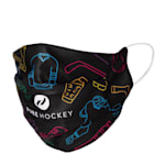Pure Hockey HeiQ Antiviral Washable Face Mask - Black/Multi-Color - Adult