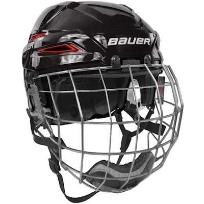 Black/Red (Bauer IMS 11.0 Hockey Helmet Combo)