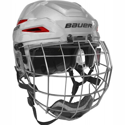 White/Red (Bauer IMS 11.0 Hockey Helmet Combo)