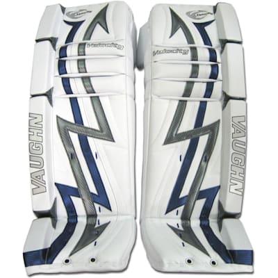 Front - White/Blue/Silver (Vaughn 7300 Velocity 3 Goalie Leg Pads - Senior)