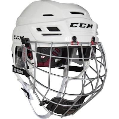 White (CCM Resistance 300 Hockey Helmet Combo)