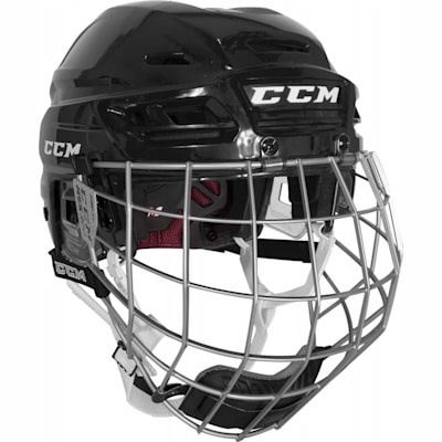 Black (CCM Resistance 300 Hockey Helmet Combo)