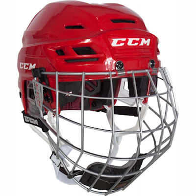 Red (CCM Resistance 300 Hockey Helmet w/Cage)