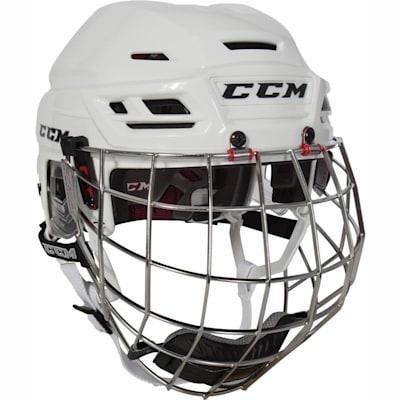 White (CCM Resistance Hockey Helmet w/Cage)