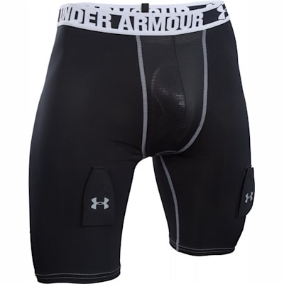 Black/Steel (Under Armour Purestrike Compression Hockey Shorts w/ Cup - Senior)
