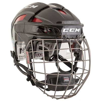 Black/Red (CCM FitLite Hockey Helmet Combo)
