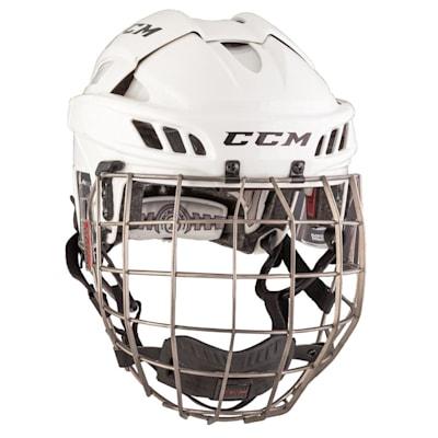 White/White (CCM FitLite Hockey Helmet Combo)
