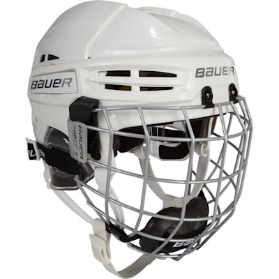 White (Bauer RE-AKT 100 Hockey Helmet Combo - Youth)