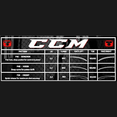 Blade Chart (CCM Ultra Tacks Grip Hockey Stick - Junior)