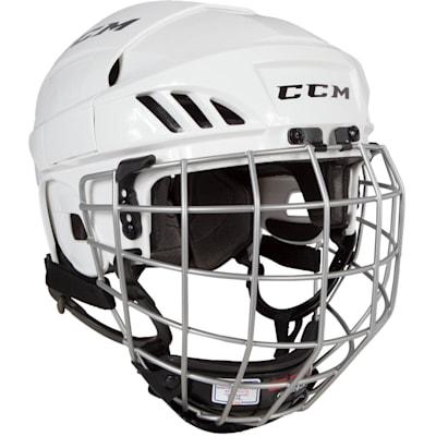 White (CCM FitLite 40 Hockey Helmet Combo)