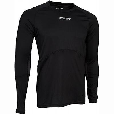 Black (CCM Long Sleeve Compression Shirt w/ Grip - Adult)