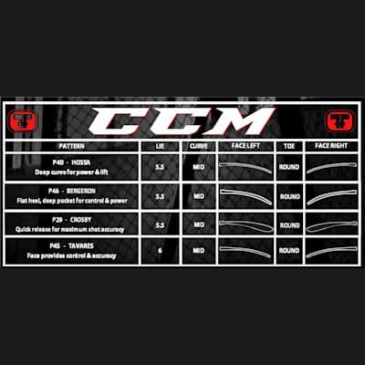 Blade Chart (CCM RBZ SpeedBurner Grip Composite Hockey Stick - Intermediate)