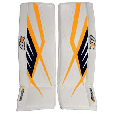 White Navy Sport Gold (Brians Sub Zero Pro 3 Goalie Leg Pads - Senior)