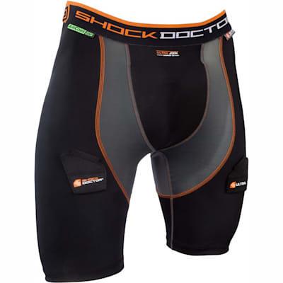 Black/Grey (Shock Doctor Ultra Compression Hockey Jock Shorts w/AirCore Cup - Mens)