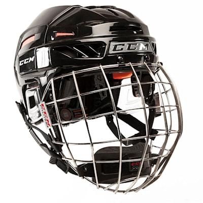 Black/Red (CCM FitLite 3DS Hockey Helmet Combo)