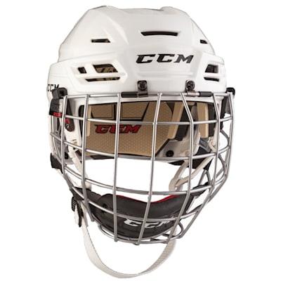 White (CCM Resistance 110 Hockey Helmet Combo)