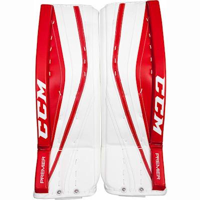 White/Red/Red (CCM Premier Pro Goalie Leg Pads - Senior)