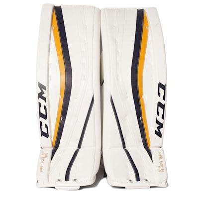 White/White/Navy/Gold (CCM Premier R 1.9 Hockey Goalie Leg Pads - Senior)
