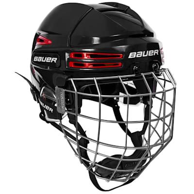 Black/Red (Bauer RE-AKT 75 Hockey Helmet Combo)