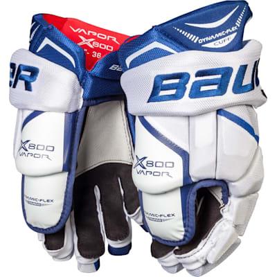 White/Blue (Bauer Vapor X800 Hockey Gloves - Junior)