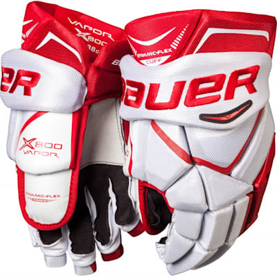 White/Red (Bauer Vapor X800 Hockey Gloves - Junior)