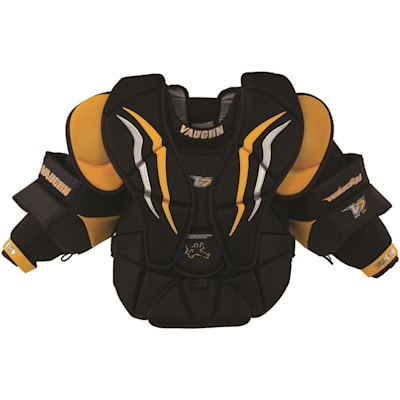 Black/Sport Gold/White (Vaughn Velocity 7 XF Pro Goalie Chest And Arm Protector - Intermediate)