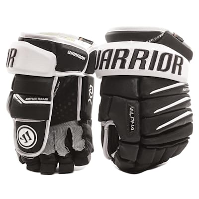 Black and White (Warrior Alpha QX Ice Hockey Gloves - Senior)