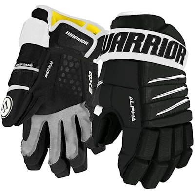 Black/White (Warrior Alpha QX3 Ice Hockey Gloves - Junior)